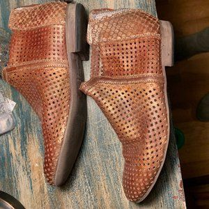 Free People Distressed Copper Leather Mesh Boots
